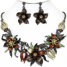 Necklace Earring Set Flowers Gray Brown FNE1345