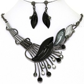 Necklace Earring Set Side Long Leaf Gray Black FNE1348