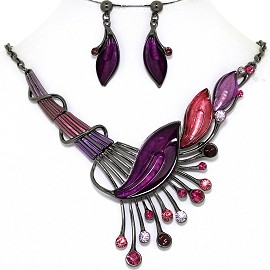 Necklace Earring Set Side Long Leaf Gray Purple FNE1349
