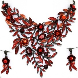 Necklace Earring Set Rhinestones Leaves Gray Red FNE1353