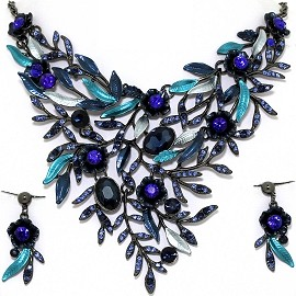 Necklace Earring Set Rhinestones Leaves Gray Blue FNE1354