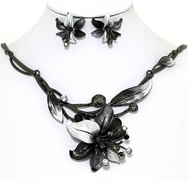 Necklace Earring Set Rhinestone Flower Gray Black FNE1357