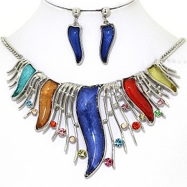 Necklace Earring Set Rhinestone Tail Silver Multi Color FNE1363