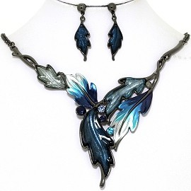Necklace Earring Set Pointy Leaves Gray Blue FNE1367