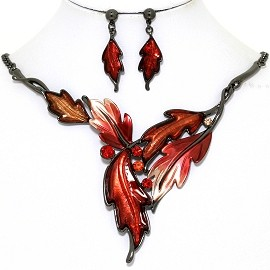 Necklace Earring Set Pointy Leaves Gray Red FNE1368