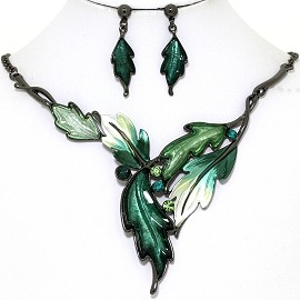 Necklace Earring Set Pointy Leaves Gray Green FNE1369