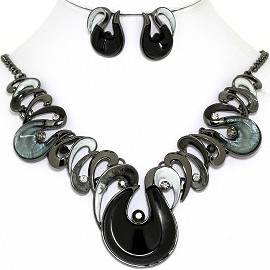 Necklace Earring Set Oval Round Tear Gray Black FNE1373