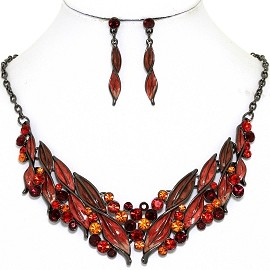 Necklace Earring Set Rhinestone Leaf Line Gray Red FNE1375