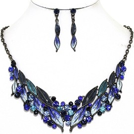 Necklace Earring Set Rhinestone Leaf Line Gray Blue FNE1377