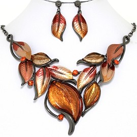 Necklace Earring Set Leaf Leaves Gray Gold Orange Fall FNE1379