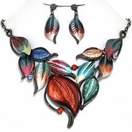 Necklace Earring Set Leaf Leaves Gray Multi Color FNE1380