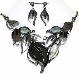 Necklace Earring Set Leaf Leaves Gray Black Silver FNE1382