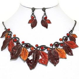 Necklace Earring Set Leaf Leaves Gray Brown Red Orange FNE1383