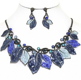 Necklace Earring Set Leaf Leaves Gray Blue FNE1384