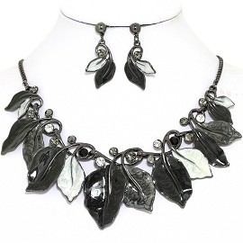 Necklace Earring Set Leaf Leaves Gray Black FNE1387