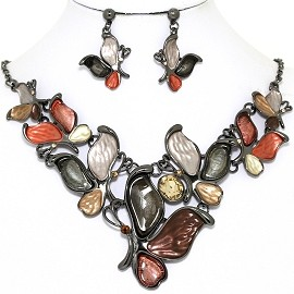 Necklace Earring Set Butterfly Gray Multi Color FNE1391