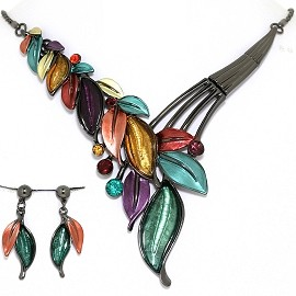 Necklace Earring Set Vine Leaf Leaves Gray Multi Color FNE1392
