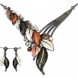 Necklace Earring Set Vine Leaf Leaves Gray Orange White FNE1395