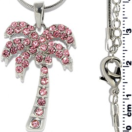 Rhinestone Pendant Chain Necklace Palm Tree Pink Silver FNE1436