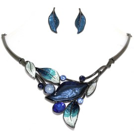 "16""-19"" Necklace Earrings Set Leaf Leaves Gem Blue DGray FNE1441"