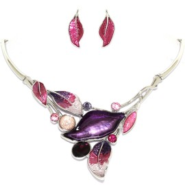 "16""-19"" Necklace Earrings Set Leaf Leaves Gem Purple Sil FNE1448"