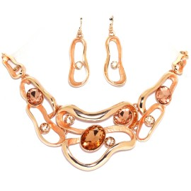 "15""-18"" Necklace Earrings Oval Gem Copper Gold Tone FNE1450"