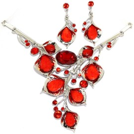 "18""-21"" Necklace Earrings Set Gem Flower Red Silver Tone FNE1451"