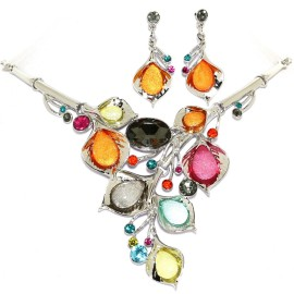 "18""-21"" Necklace Earrings Set Gem Flower Multi Color FNE1454"