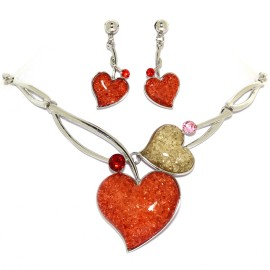 "16""-18"" Necklace Earrings Set Gem Hearts Orange Silver T FNE1459"
