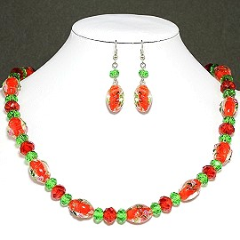 Crystal Glass Necklace Earring Rose Red Green FNE189