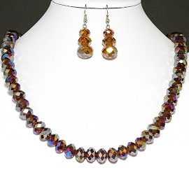 10mm Crystal Necklace Earrings Brown Aura Borealis FNE190