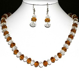10mm Crystal Necklace Earrings Light Brown Clear FNE193