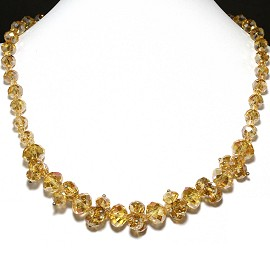 Crystal Necklace Light Gold AB FNE199
