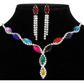 Rhinestone Necklace Earring Set Silver Multi Color FNE206