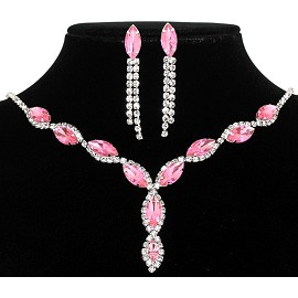 Rhinestone Necklace Earring Set Silver Pink FNE208