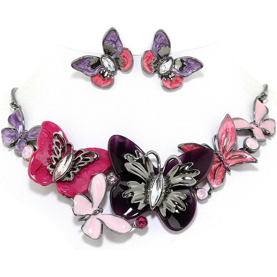 "18"" Necklace Earring Set Butterfly Multi Color Pink Gray FNE209"