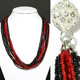 Bead Crystal Necklace Rhinestone Magnetic Clasp Black Red FNE211