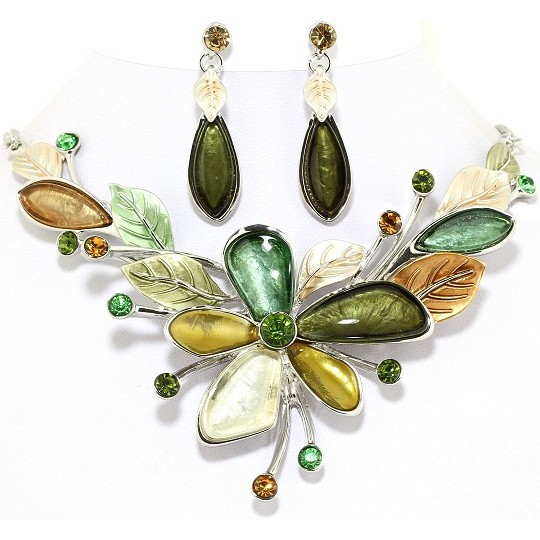 "18"" Necklace Earring Set Flower Multi Color Silver Green FNE214"