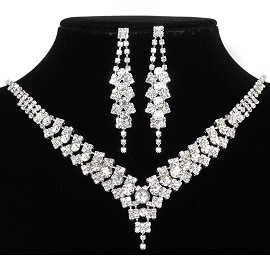 Rhinestone Necklace Earring Set Fancy Silver FNE215
