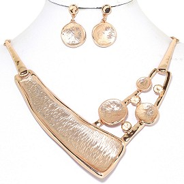 Necklace Earring Set Metallic Gold Tone FNE218