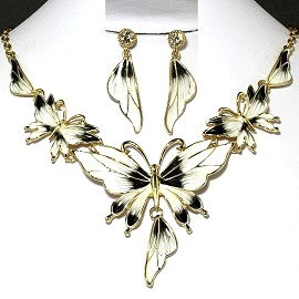 Necklace Earrings Set Butterfly Gold White Black FNE223