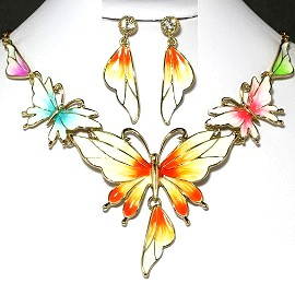Necklace Earrings Set Butterfly Gold Multi Color Orange FNE224