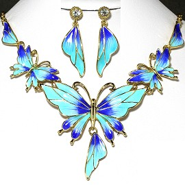 Necklace Earrings Set Butterfly Gold Turquoise Blue FNE226