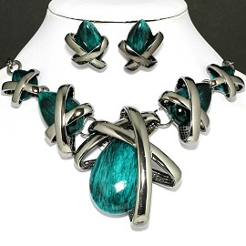 Necklace Earring Set Tear Gray Teal FNE227