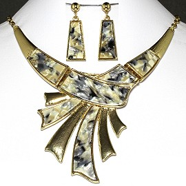 Necklace Earring Set Gold Black White Gray FNE229