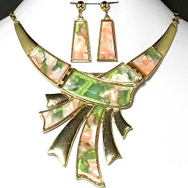 Necklace Earring Set Gold Black Green Pink FNE230