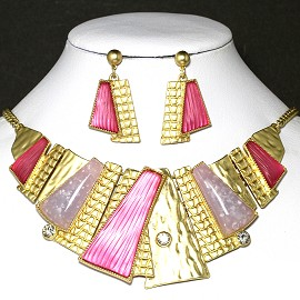Necklace Earring Set Rectangle Gold Multi Color Purple FNE234