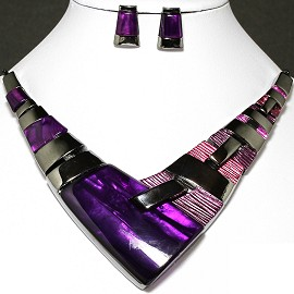 Necklace Earring Set Arrow Rectangle Gray Purple FNE236