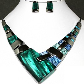 Necklace Earring Set Arrow Rectangle Gray Green FNE237