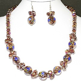 "18"" Crystal Glass Necklace Earring Set Rose Purple FNE241"